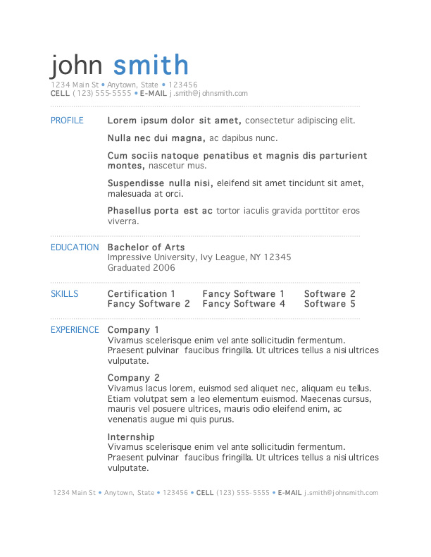 word format resume templates free