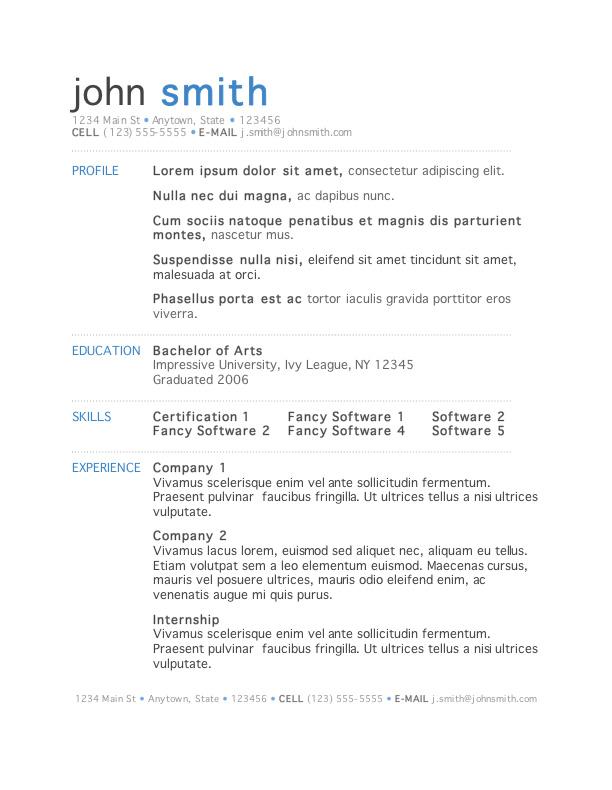microsoft 2007 resume template