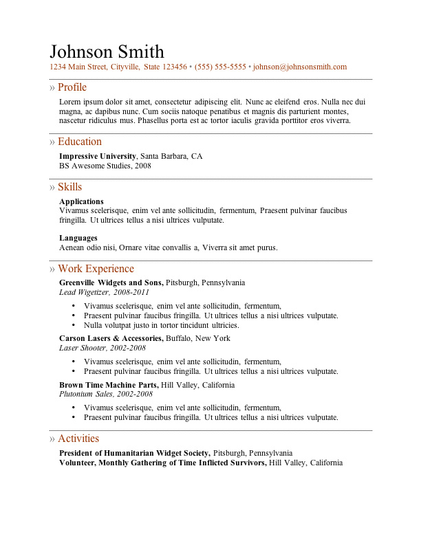 Resume Template Free Download In Word  Resume Sample