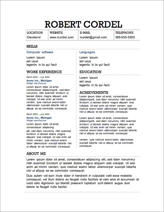 2 column resume template