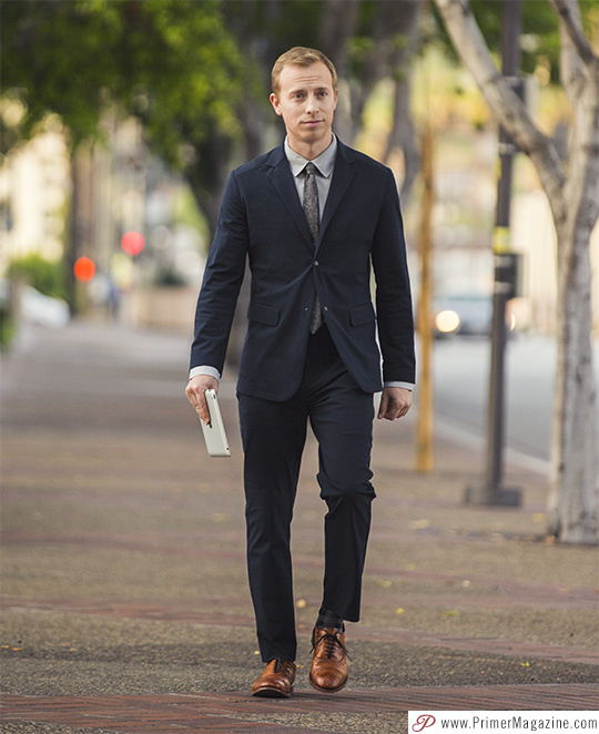Gray Suit Shoes Brown Light