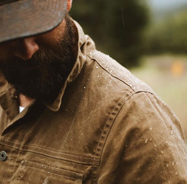 flint and tinder waxed canvas trucker jacket