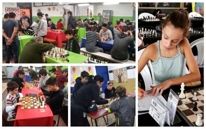 Chicos, jóvenes y adultos despliegan su pasión por el ajedres, como es el caso de la tricampeona argentina Abril Sánchez (derecha)