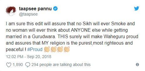 Taapsee Pannu Tweet after Manmarziyaan movie controversy