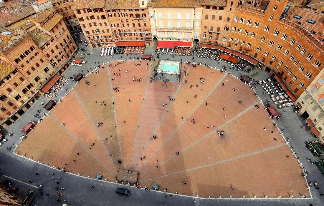Panorama Sieny, widok na Sienę, plac Il Campo, Il Campo Siena