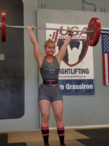 Keira Hand weightlifting using Primo Chalk