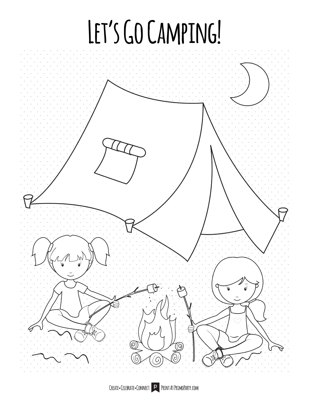 Girls Camping Coloring Page Primoparty
