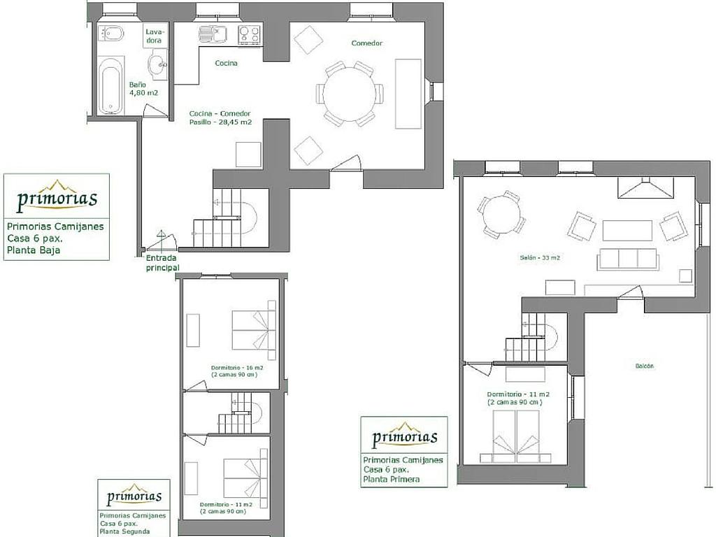Plano de superficie de la casa rural para 6 personas en Camijanes