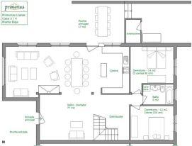 Plano de la planta baja de la casa rural para 10 personas en Llanes