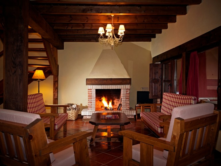 Sittingroom for 10 people with chimney in the holiday house in Llanes