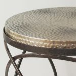Metal Hammered Top Round Side Table Primrose Plum