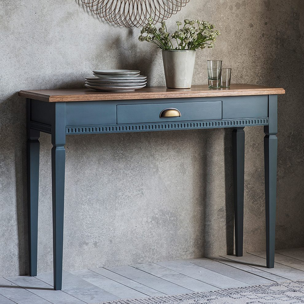 Painted Console Table With Oak Top Midnight Primrose