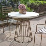 Outdoor Round Metal Table With White Concrete Top Primrose Plum