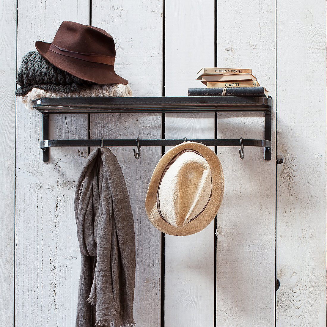 industrial metal luggage rack with hooks