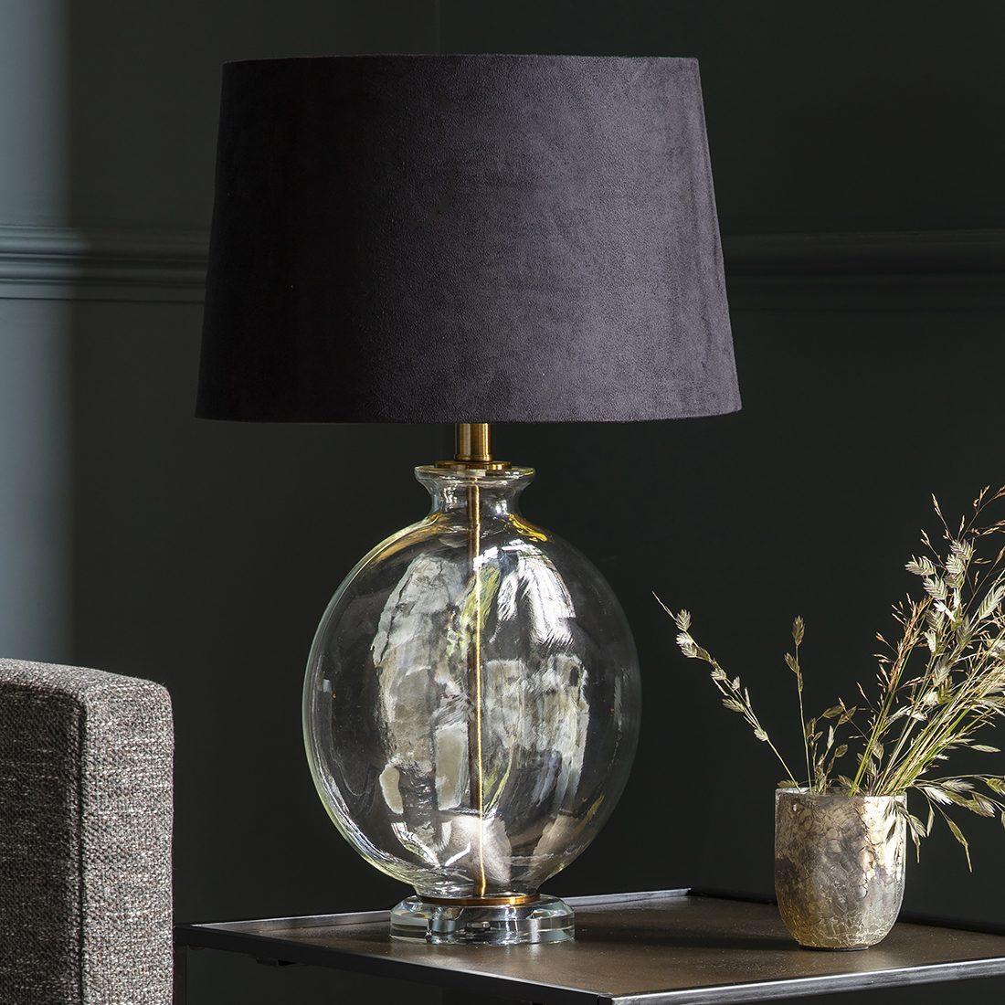 Slim Round Glass Table Lamp With Black Velvet Shade Primrose Plum