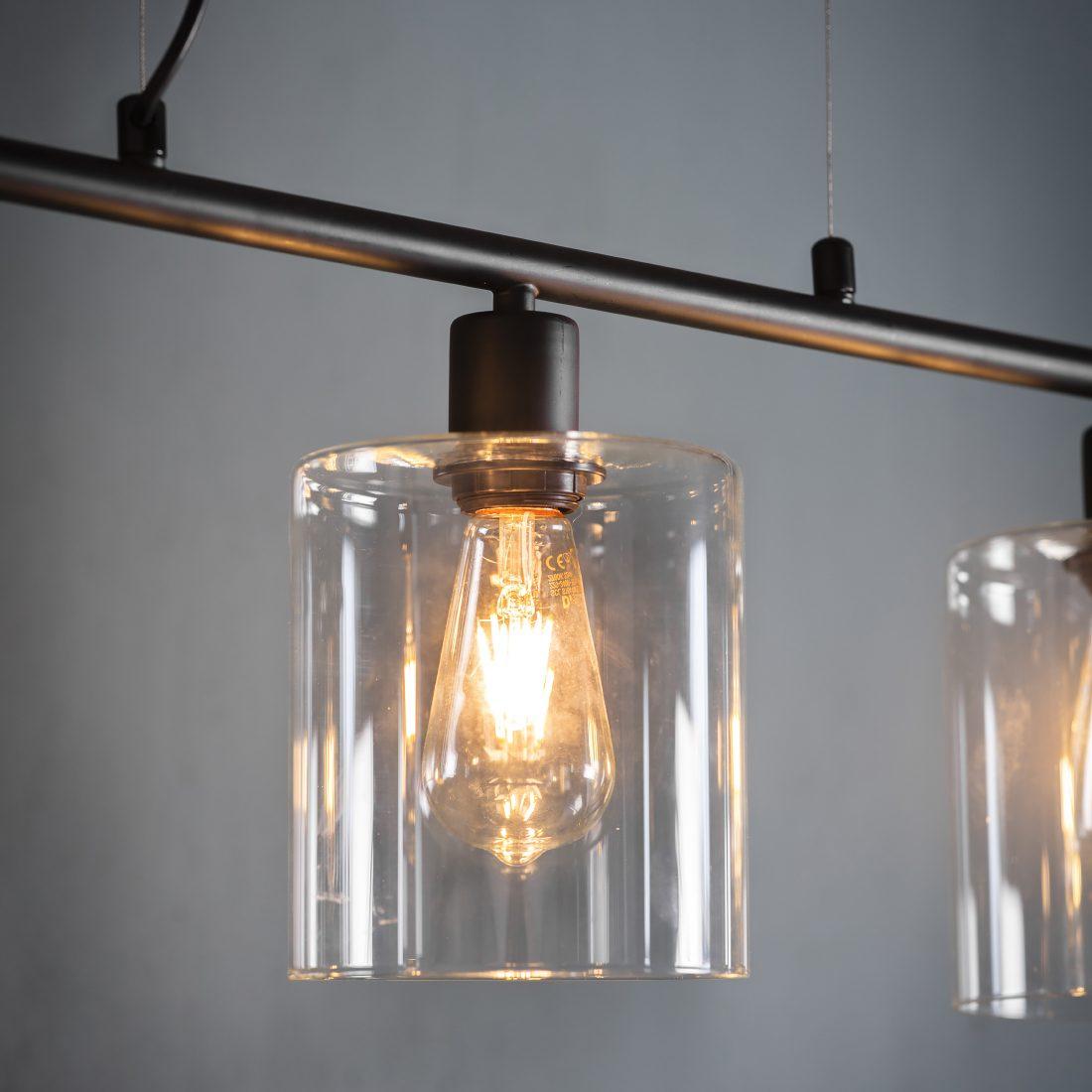 Black Industrial Three Pendant Light Primrose Plum