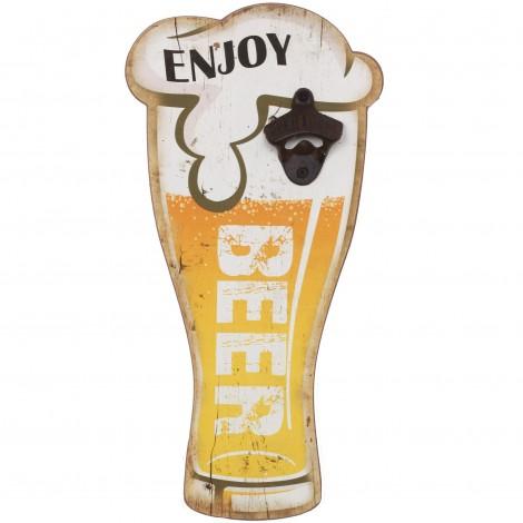 decapsuleur mural verre de biere en bois 40 cm