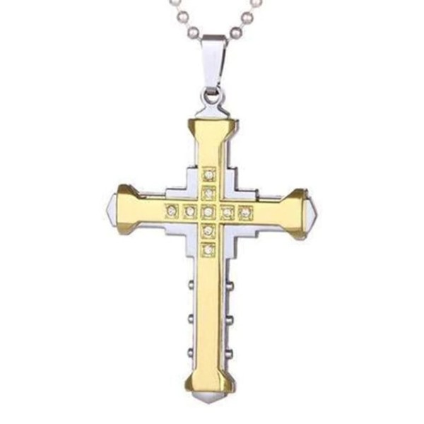 silver and gold cross necklace