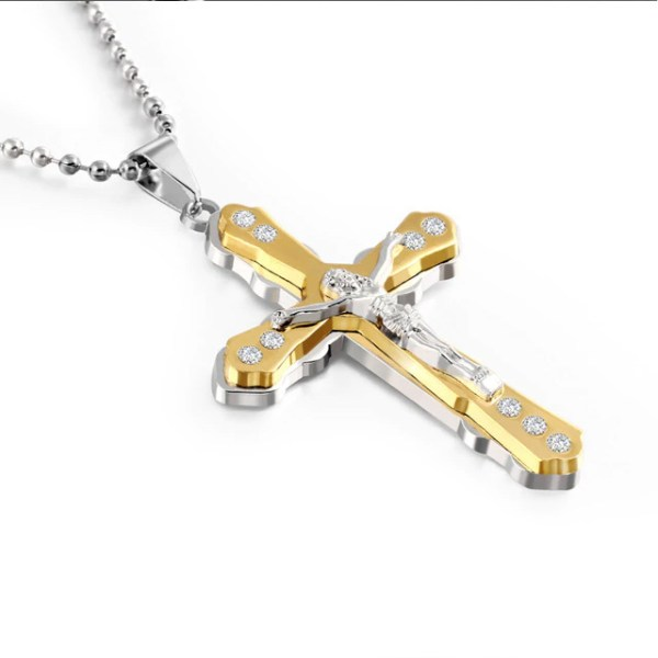 gold and silver cross necklace