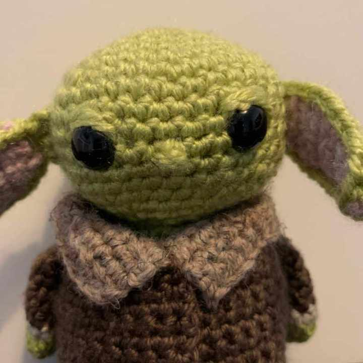 Close up of Baby Yoda