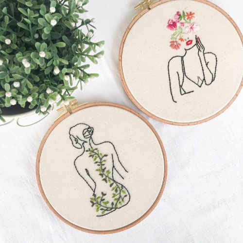 Feminist Line Art Embroidery