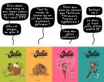 """<h5>Couvertures des 4 albums de """"Le Journal de Julie""""</h5><p>Parus dans la collection BD Kids, Milan éditions. Scénarios et dessins : PrincessH, BD publiée mensuellement dans le magazine Julie, Milan éditions.</p>"""