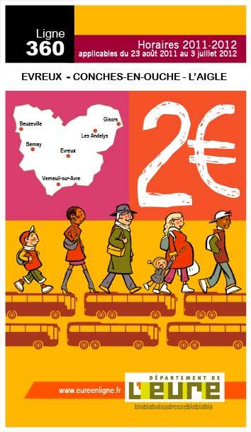 Couverture des horaires et plans de bus du département de l'Eure.