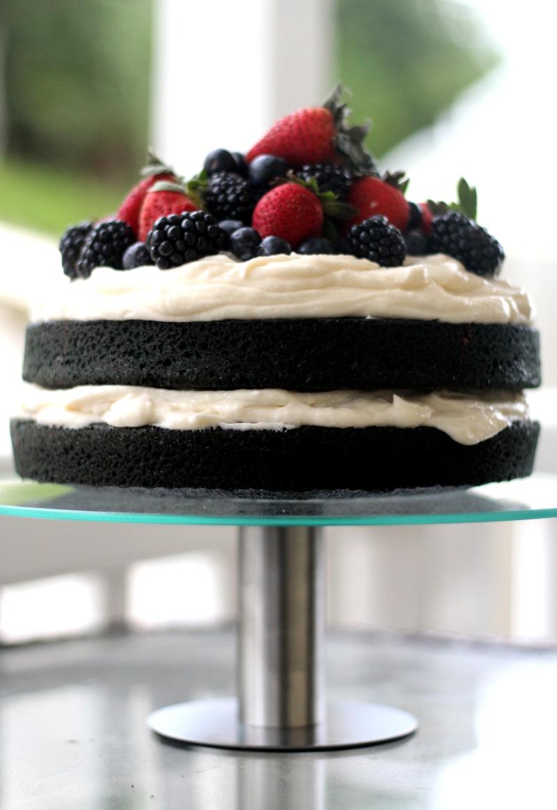 Blue Velvet Cake with Berries