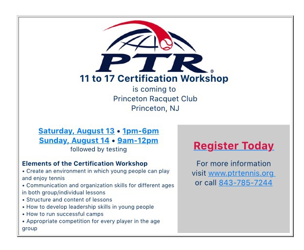 Ptr Workshop At Prc Princeton Racquet Club
