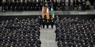 A photo of a police department graduation.