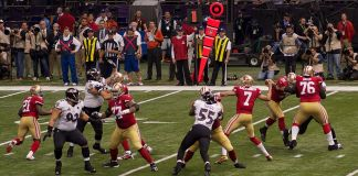 A photo of Colin Kaepernick playing in Super Bowl XLVII