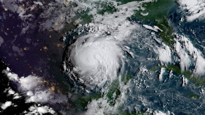 A photo of Hurricane Harvey from space