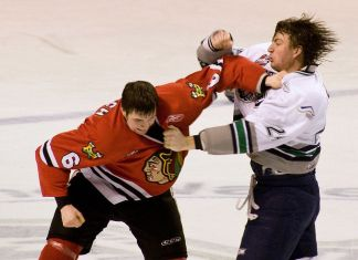 Two hockey players fighting on the ice rink.