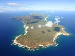 An aerial view of Niihau island surrounded by blue ocean.