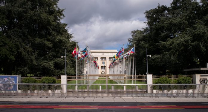 Photograph of Palais des Nations building with flags in two columns in front of it