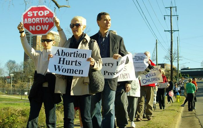photograph of an anti-abortion protest