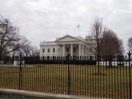 Photograph of the White House and the fence that surrounds it