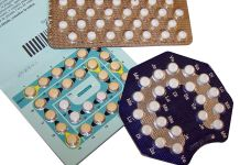 Photograph of three different brands of birth control