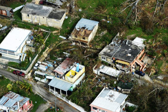 Arial photograph of destruction caused by Hurricane Maria