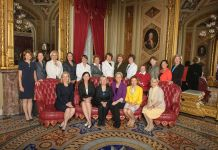 photograph of all the women save Senator Mary Landrieu on the US Senate in 2013