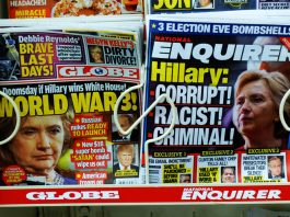 "Photograph of two tabloid magazines with headlines about Hilary Clinton, dated ""election eve,"" 2016"