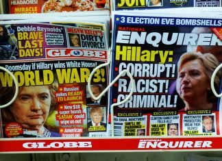 """Photograph of two tabloid magazines with headlines about Hilary Clinton, dated """"election eve,"""" 2016"""