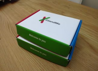 Photograph of two boxes by the brand 23AndMe