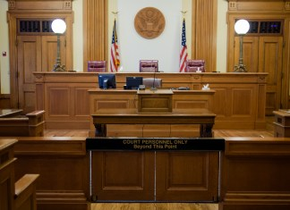 Photograph of an empty courtroom