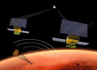 Artist's rendering of InSight and the two MarsCubes as they approach Mars from Earth