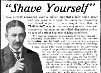 """An ad reading """"Shave Yourself!"""" and a picture of a man pointing"""