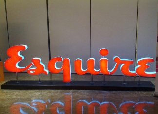 Sculpture of Esquire magazine's logo