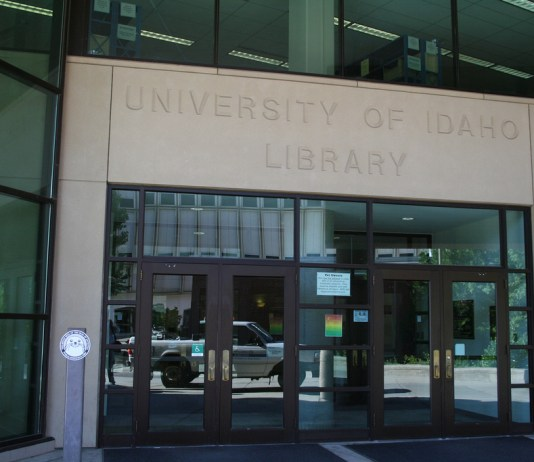 Photograph of the stone facade of the University of Idaho Library