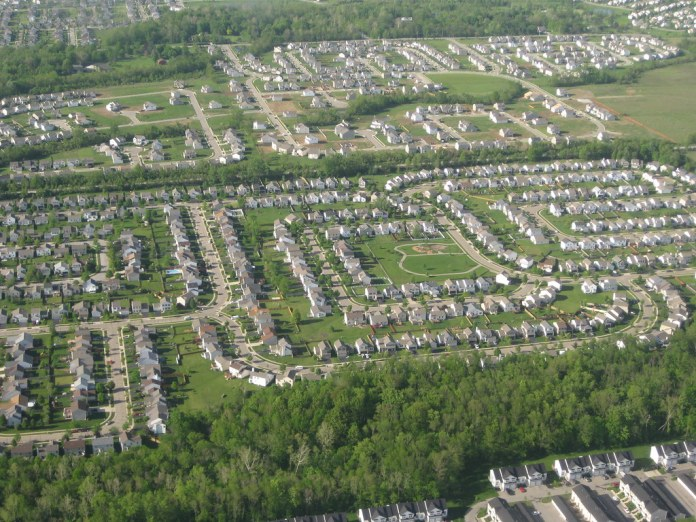 aerial photograph of suburbs