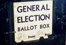close-up photograph of old ballot box